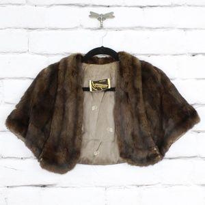 Beautiful Gordon's Fur Shrug Shawl Brown